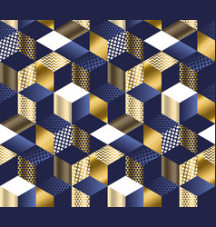 Geometric blue and gold cubes seamless pattern vector