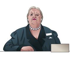 Gloomy lady registrar or inspector behind the vector