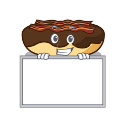 Grinning with board maple bacon bar character vector
