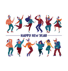 happy new year card with text and dancing people vector image