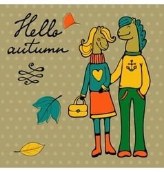 Hello autumn elegant card with cute horse couple vector