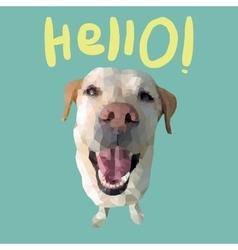 Hello card with polygonal dog vector image