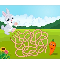 Help bunny to find way to carrot in the maze vector