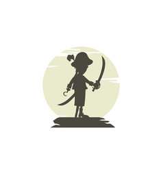 hook pirate silhouette theme logo vector image