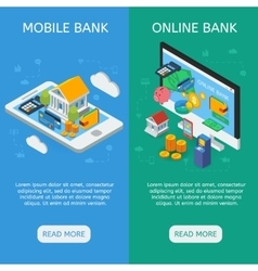 Internet Banking Isometric Vertical Banners vector image