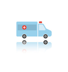 Isolated ambulance color icon with reflection vector