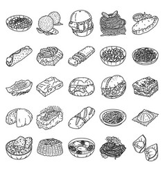 italian food set icon doodle hand drawn or vector image