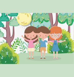 kids zone cute little boy and girls in forest vector image