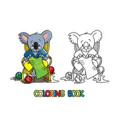 koala bear knitter abc coloring book alphabet k vector image