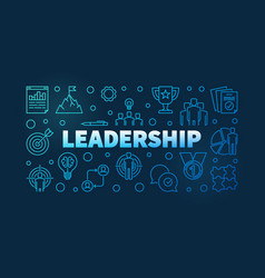 Leadership blue line banner vector