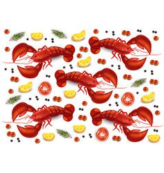 Lobster and caviar pattern realistic vector