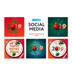 Merry christmas 2019 social media templates vector