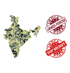 Military camouflage composition of map of india vector