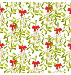 Mistletoe branches seamless pattern vector image