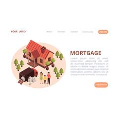 mortgage isometric web banner vector image