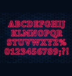neon red font bright capital letters with numbers vector image