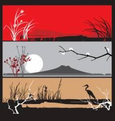 Oriental landscape panels vector