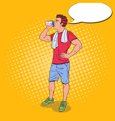 Pop art young man drinking protein shake vector