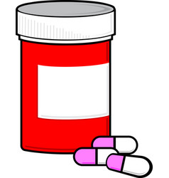 prescription pills and bottle graphic vector image
