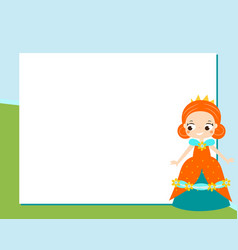 princess frame design template for photos vector image