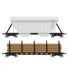 railroad hopper and log cars vector image