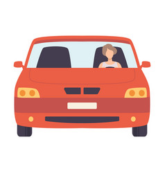 Red car with female driver front view vector