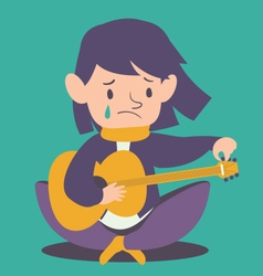 Sad Girl Tuning Guitar vector