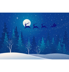 Santa sleigh above forest vector