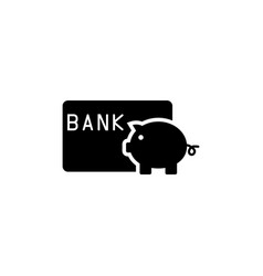 Save money piggy bank with credit card flat vector
