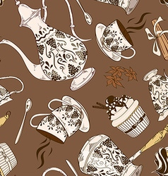 Seamless pattern of coffee service vector