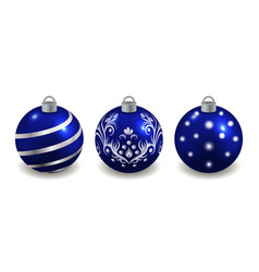 set christmas balls isolated on white blue vector image