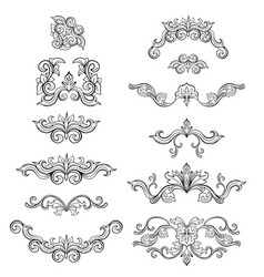 Set isolated black sketches floral vector