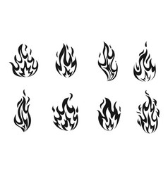 set monochrome fire flames vector image
