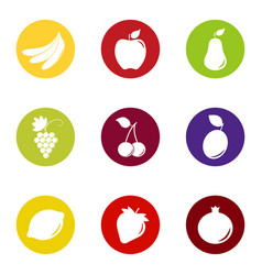 set of fruit and berry icons on color background vector image