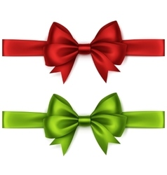 Set of Red Green Bows and Ribbons on Background vector