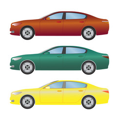 set the type of sedan cars of different colors vector image