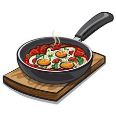 Shakshouka dish vector