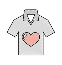 Shirt with heart love vector