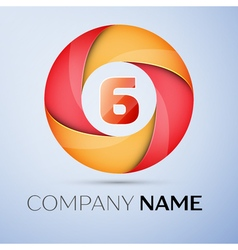 Six number colorful logo in the circle template vector