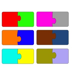 Six parts of color puzzle A vector