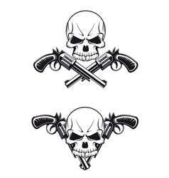 skull with revolvers vector image