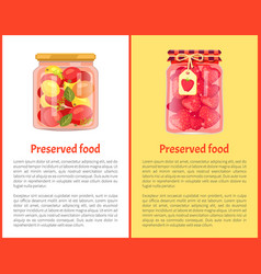 Strawberry jam or compote and tomatoes glass jars vector