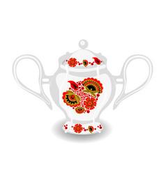 sugar bowl with khokhloma ornament vector image