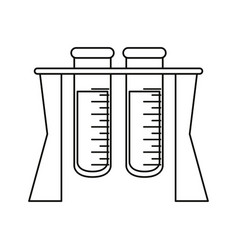 test tube rack medicine laboratory thin line vector image