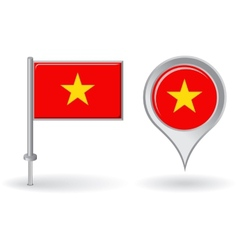 Vietnamese pin icon and map pointer flag vector