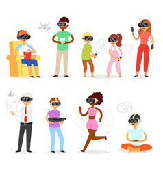 Virtual reality people in vr character vector