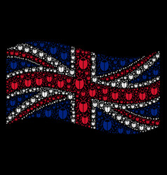 Waving uk flag collage of bug icons vector