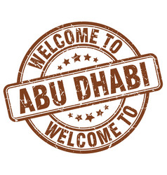 Welcome to abu dhabi brown round vintage stamp vector
