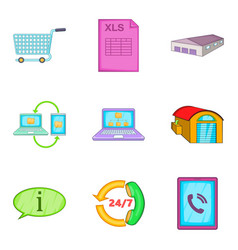 Wholesale warehouse icons set cartoon style vector