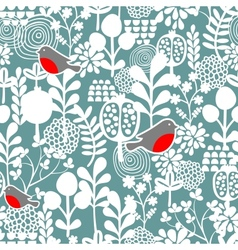 Winter birds and frozen flowers seamless pattern vector image